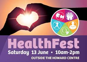 Poster for Health Fest showing two hands making a heart shape in silhouette