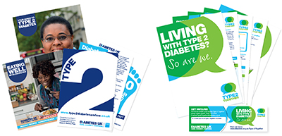Images of publicity materials for Patient Information Packs and the Type2Together groups