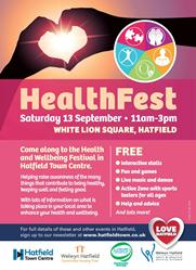 Poster advertising HealthFest in Hatfield