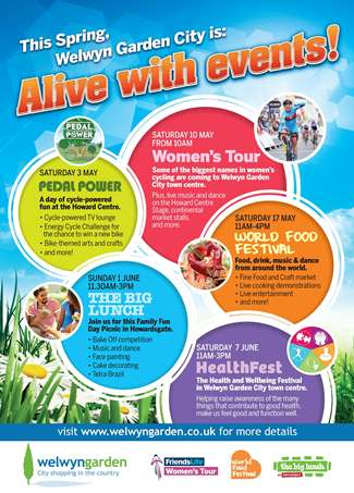 Poster advertising spring events in Welwyn Garden City